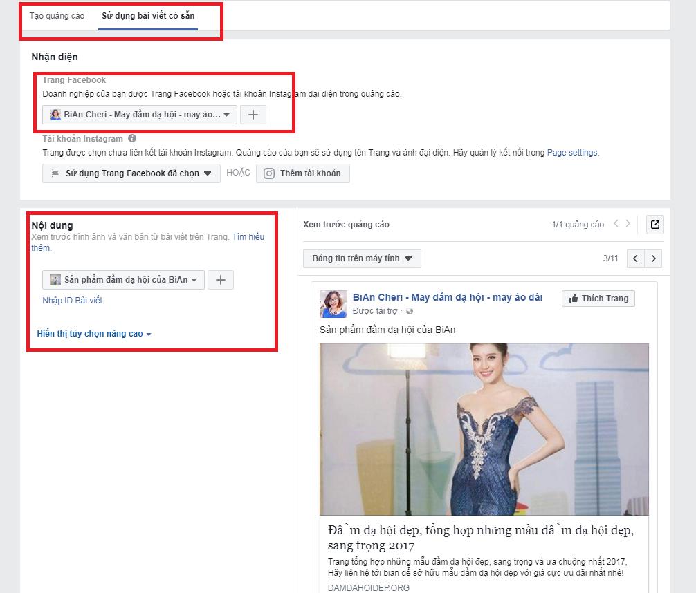 Lựa chọn bài viết quảng cáo trên Facebook